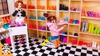 신비아파트 구하리 구두 가게 에서 쇼핑놀이 ! 미미 인형놀이 드라마 시크릿쥬쥬 공주 옷입히기 장난감 놀이 barbie doll shopping Routine | 보라미TV