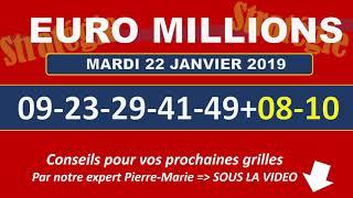 EUROMILLIONS NUMEROS GAGNANTS TIRAGE MARDI 22 JANVIER 2019