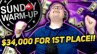 DEEP IN THE SUNDAY WARM UP $34,000 FOR 1ST PLACE!! | PokerStaples Stream Highlights