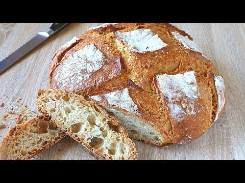 Pan SIN AMASAR de 1kg de harina común con corteza CRUJIENTE. FÁCIL y sin usar utensilios especiales