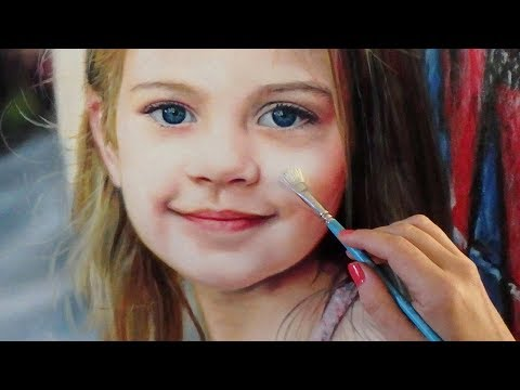 REALISTIC OIL PAINTING ON WOOD DEMO - little girl / kid / baby / child portrait by Isabelle Richard