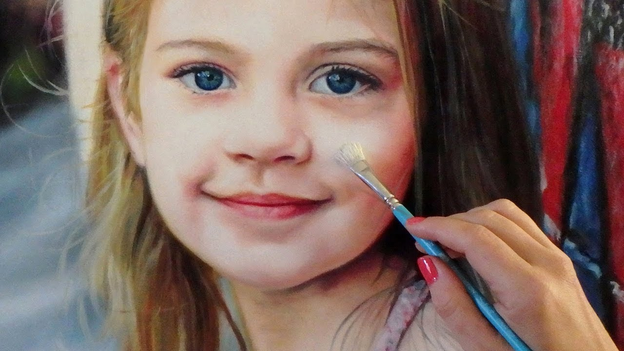 85835b0e6d6 REALISTIC OIL PAINTING ON WOOD DEMO - little girl   kid   baby   child  portrait by Isabelle Richard