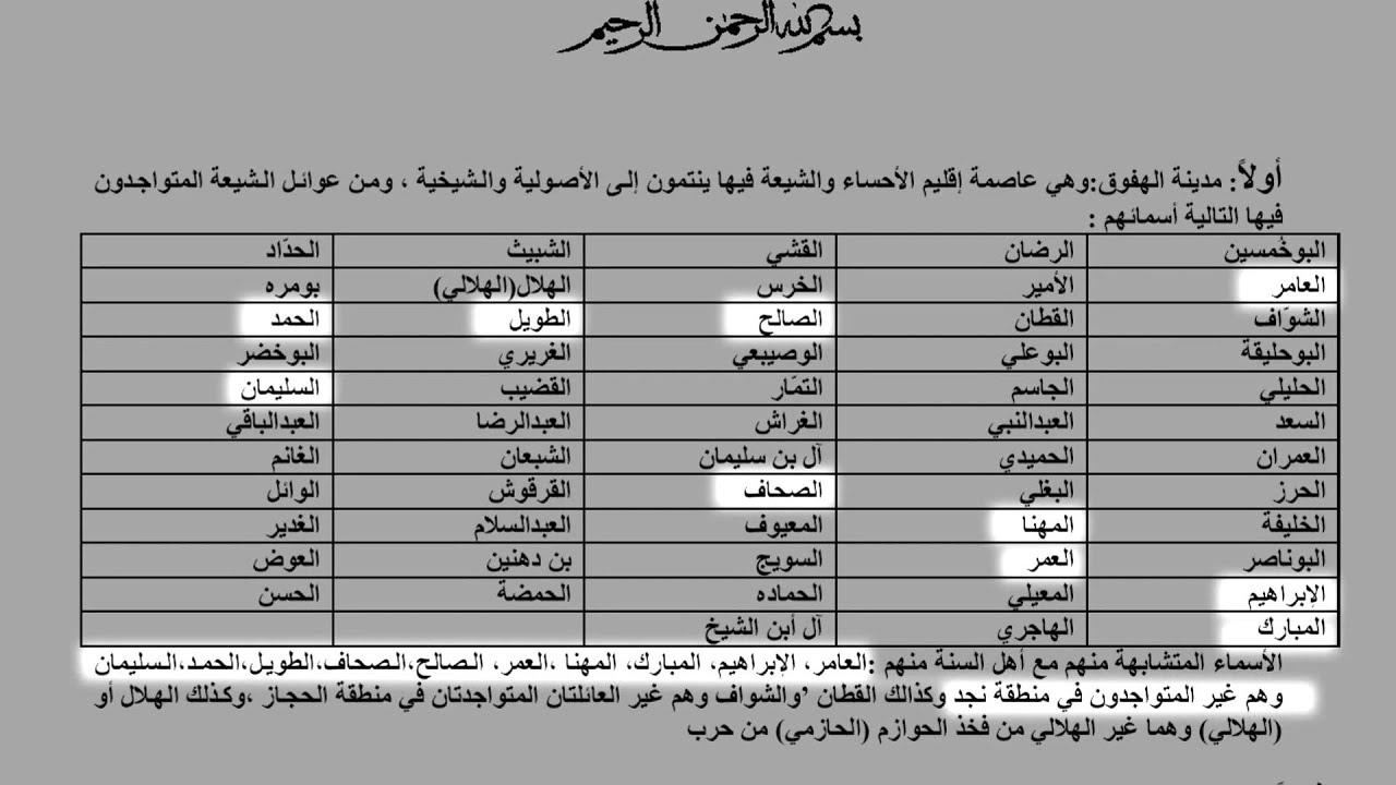 أسماء عوائل متشابهه بين السنه والشيعه في السعوديه Youtube