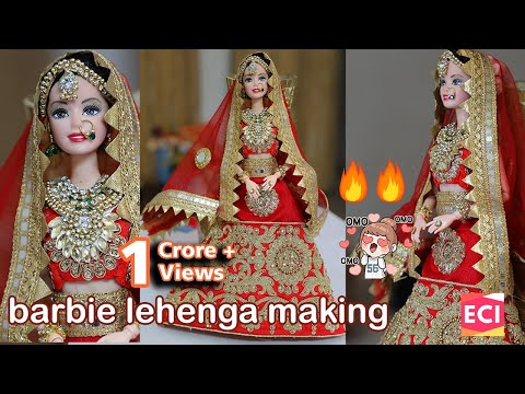 Barbie Lehenga Making | Indian barbie doll dress/jewellery| Ekta Craft Ideas