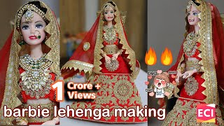 Barbie Lehenga Making | Indian barbie doll dress/jewellery| Ekta Craft Ideas