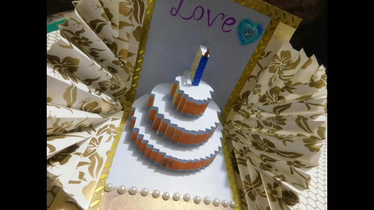 Happy Birthday Cake PopUp Card Tutorial YouTube – Pop Up Birthday Cake Card