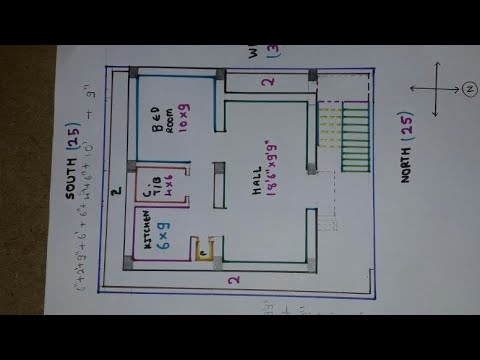 25 × 30 North face house plan map naksha details