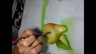 Como pintar folha e pera, com Rosa Foeger