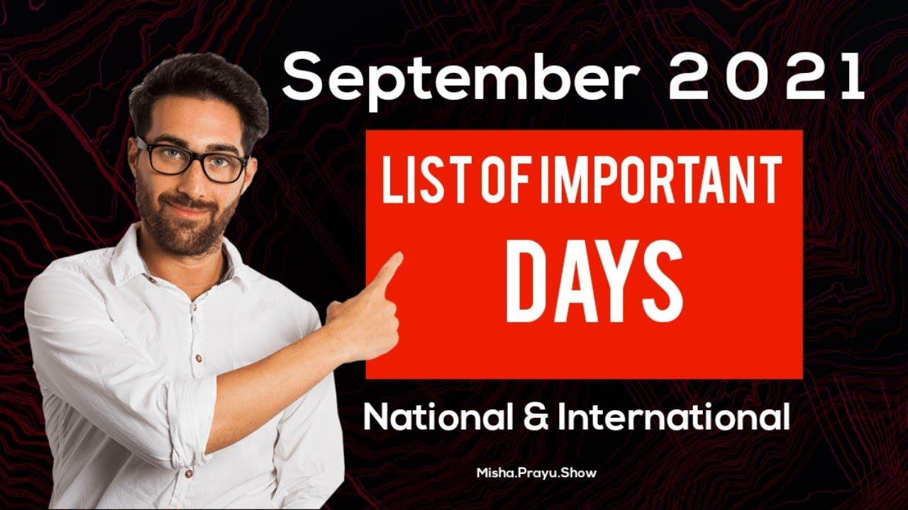 September 2021: Full List of important National and International Days | Special  days in September - YouTube