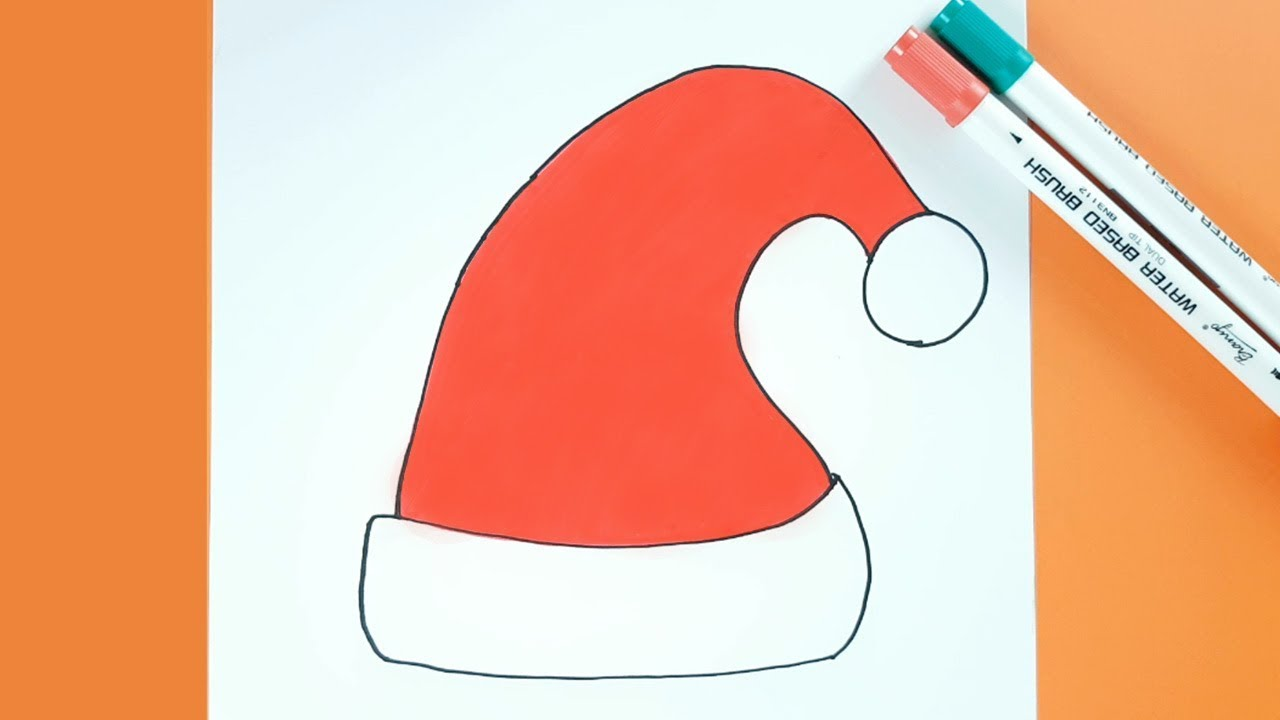 Christmas Hat Drawing.Christmas Drawing How To Draw Santa Hat Easy Step By Step