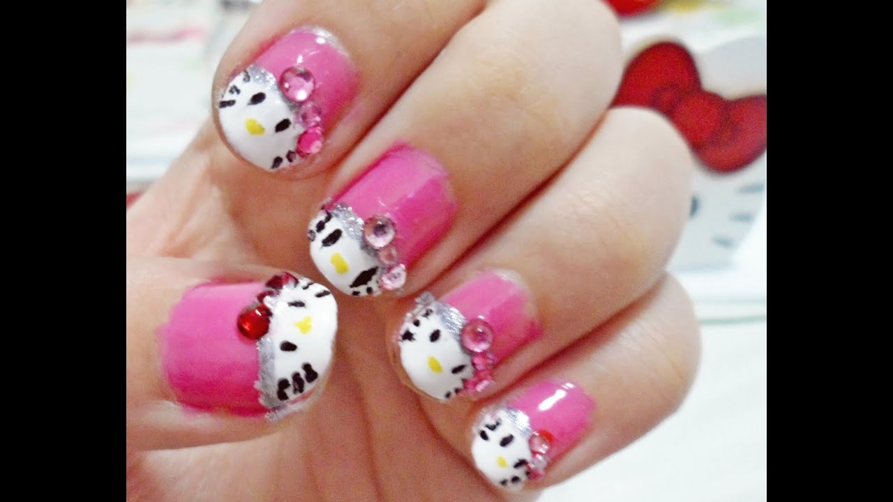 Hello Kitty Nail Art Tutorial - YouTube