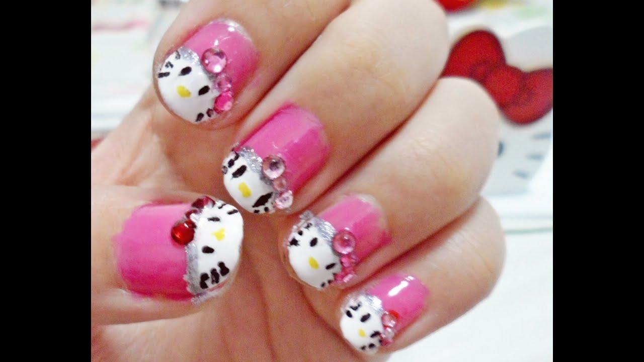 Hello Kitty Nail Art Tutorial - YouTube