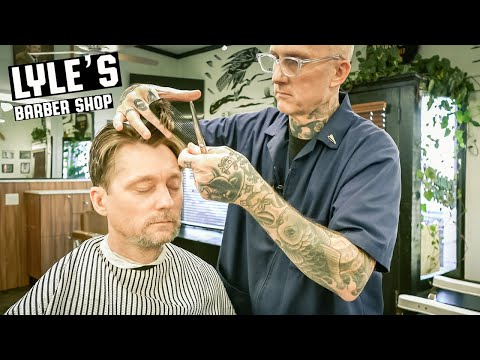 💈 Traditional Gentleman's HAIRCUT & HAIR STYLING Tips | Lyle's Barber Shop Portland, Oregon