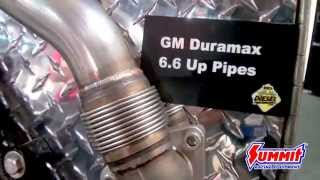 bd diesel gm up pipes new product at sema 2015