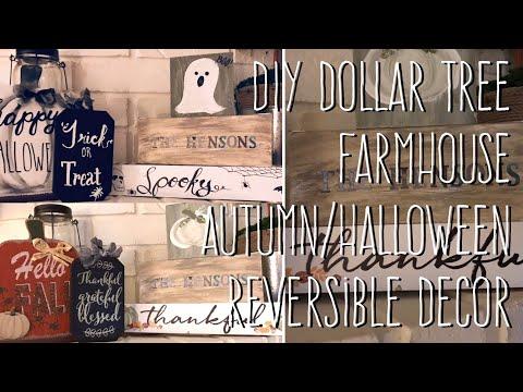 DIY Dollar Tree  Farmhouse  Autumn/Halloween  Reversible Decor