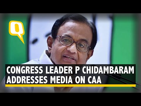 Senior Congress Leader P Chidambaram Addresses Media on CAA