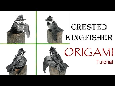 Origami Crested Kingfisher Tutorial (Morisue Kei) 折り紙 クレステッドキングフィッシャー оригами учебник птица