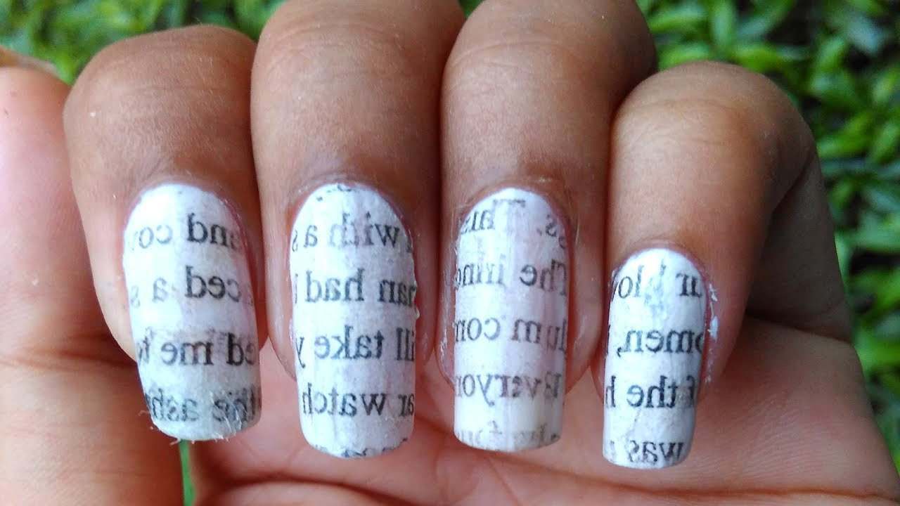 Newspaper Print Nail ART Without Alcohol - YouTube