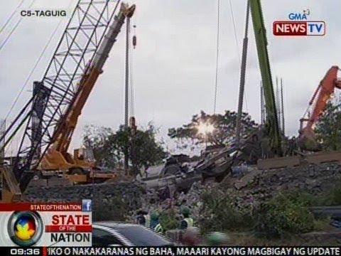 SONA: Bumagsak na crane sa C5-Taguig, nagdulot ng mabigat ng traffic at brownout