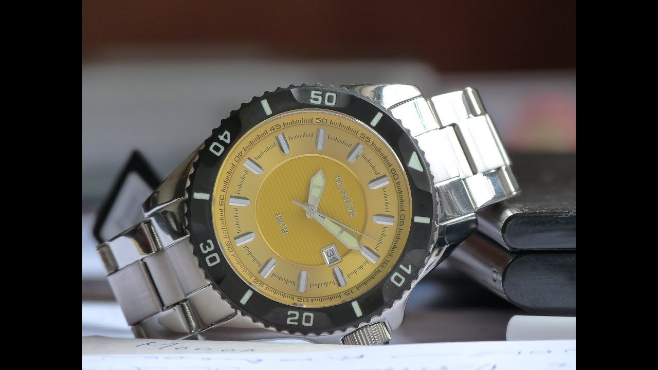 70407015db5 Relógio de Mergulho Technos Acqua 2115KPA 1Y Amarelo 300m - YouTube