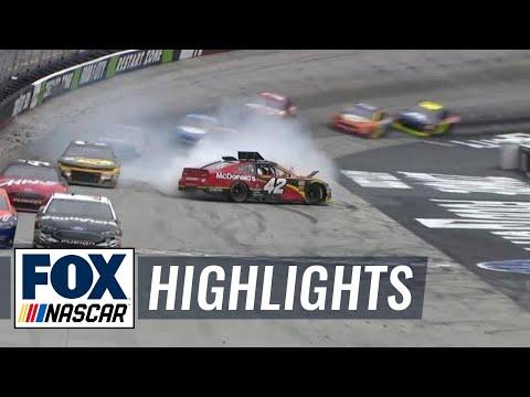 Kyle Larson spins, loses lead after hitting Ryan Newman   2018 BRISTOL   FOX NASCAR
