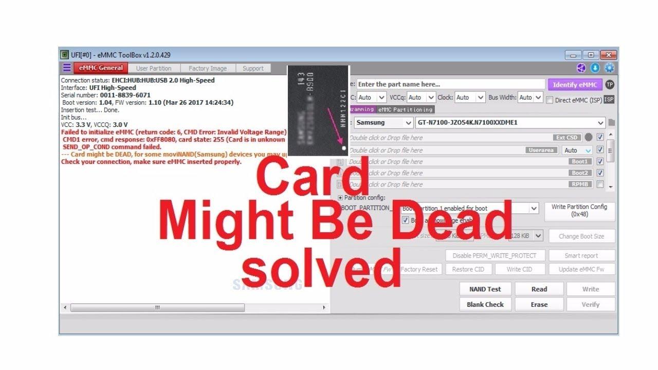 fix card might be dead repair by ufi dead emmc تصليح الهارد الميتInvalid Pipe State Error #13