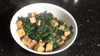Pan-fried Tofu With Garlic & Spinach