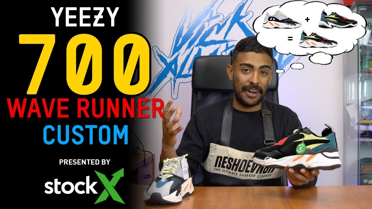 4e5bd130dcf48 First adidas Yeezy 700 Wave Runner Custom on YouTube by Vick ...