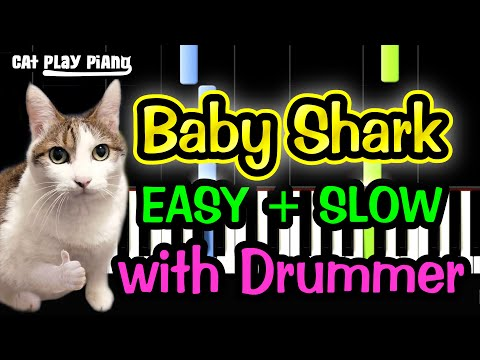 Baby Shark - Piano Tutorial Easy SLOW [with Drummer] + Free Sheet Music PDF thumbnail