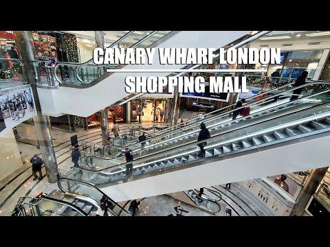 ⁴ᴷ Canary Wharf Shopping Mall - London Walking Tour