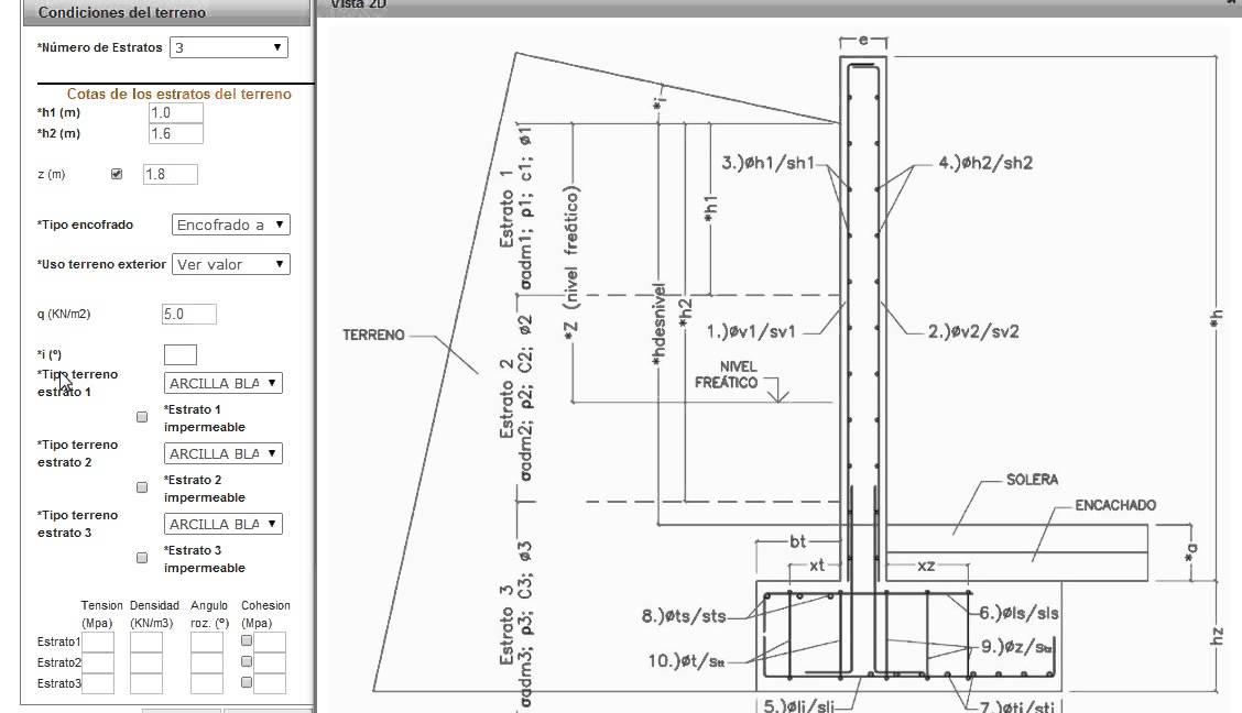 clculo de muro de contencin de hormign