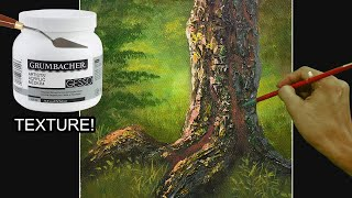 How to Paint Tree Trunk with Textures using Gesso and Palette Knife in Acrylics