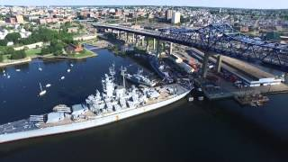 Battleship Massachusetts in Fall River with Dji Inspire 1 Drone Aerial July 16 2015