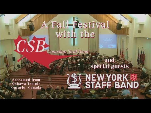 New York Staff Band with the Canadian Staff Band at Oshawa Temple