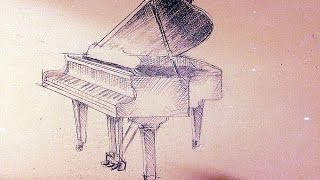 how to draw a piano (easy tutorial)