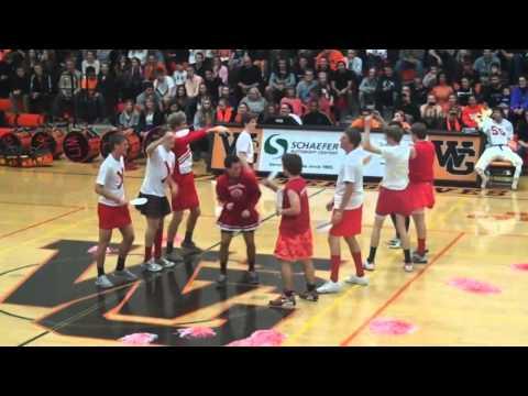 Webster Groves High School 2012 Turkey Day pep rally mock Kirkwood cheerleaders
