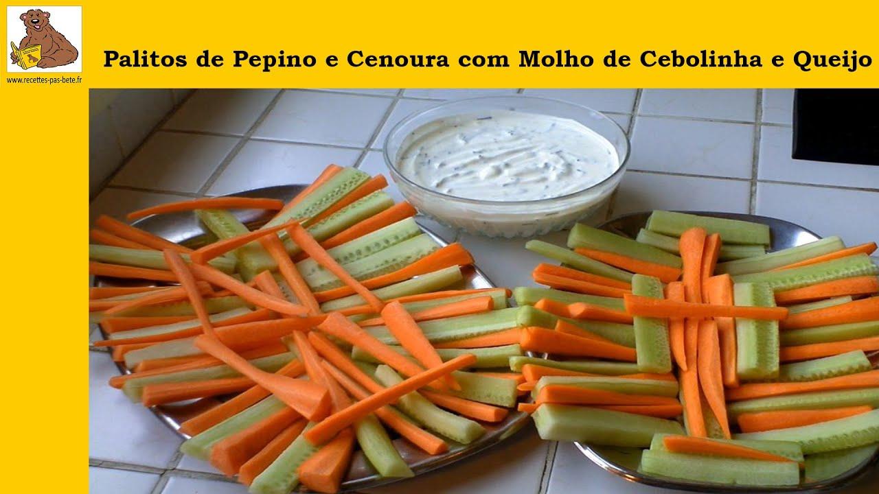 Palitos de pepino e cenoura com molho de cebolinha e queijo branco receita r pida e f cil hd - Appareil pour couper en julienne ...