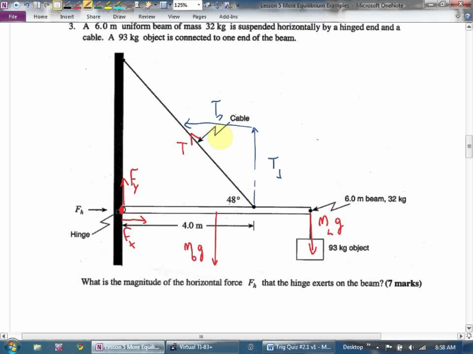 Physics 12 U4l5 More Equilibrium Examples Youtube
