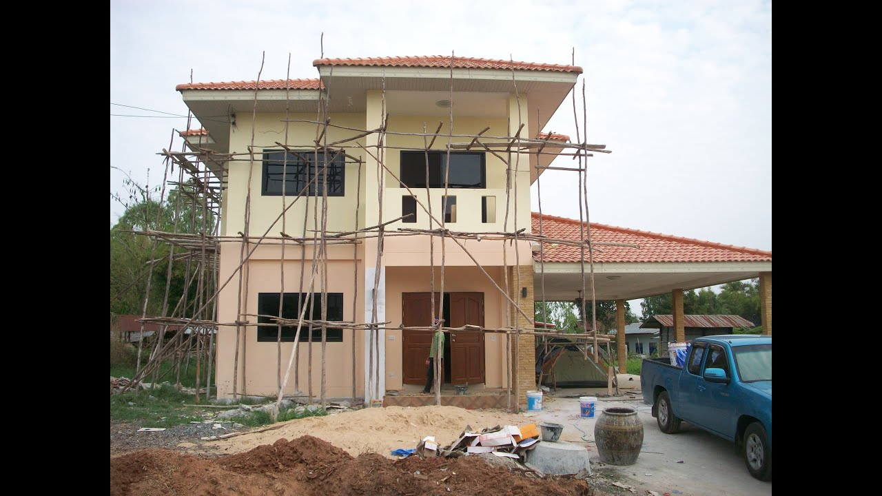Building a house in thailand start to finish youtube for Inexpensive home construction