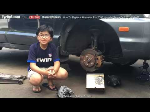 How To Remove Replace And Install Alternator On 2006 Hyundai Santa Fe 27L V6 4WD  YouTube