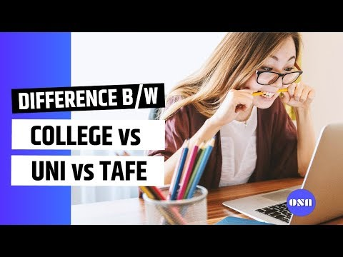 Difference between - College Vs University vs Tafe