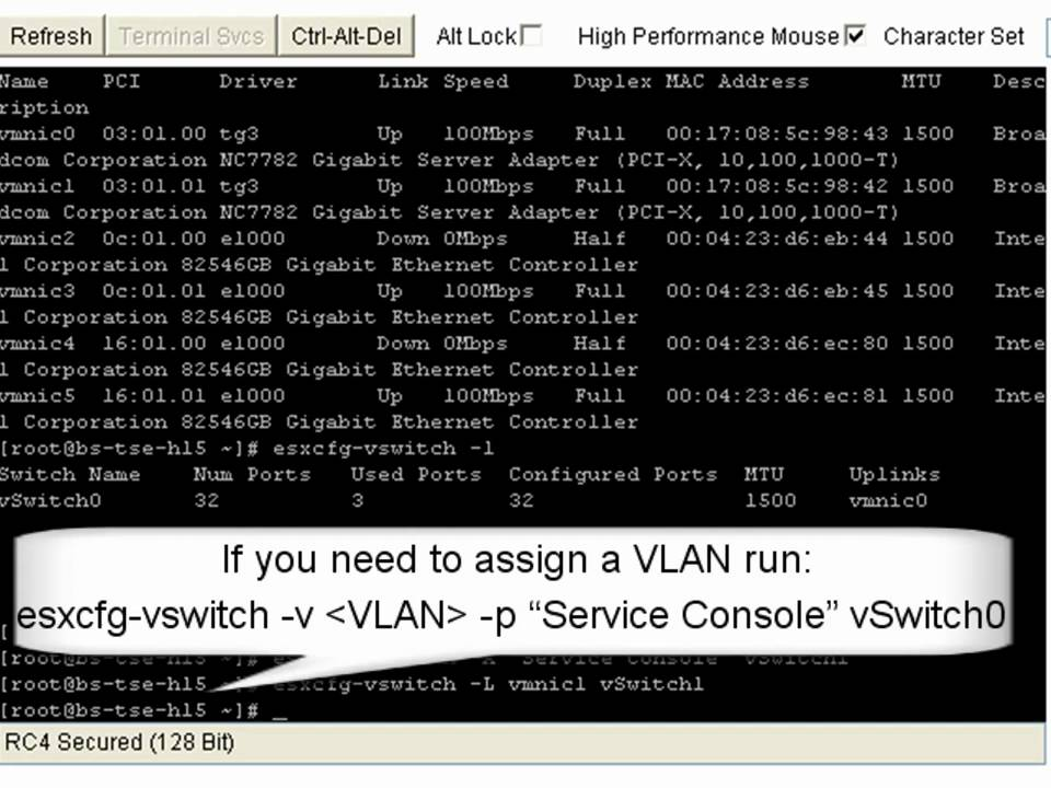 How to configure networking from the VMware ESX service console command line