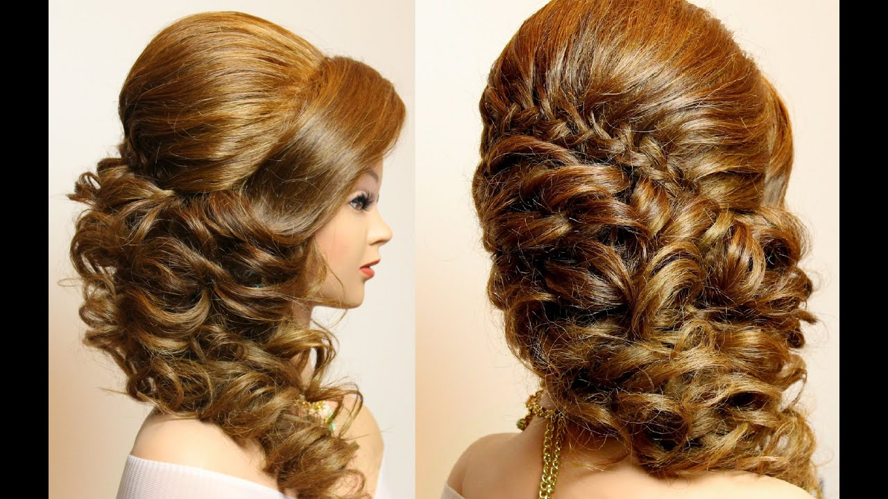 bridal hairstyle with braid and curls. hair tutorial