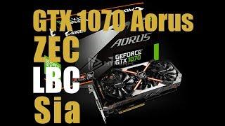 Gigabyte GTX1070 Aorus. Энергопотребление, хэшрейт: zec lbc sc