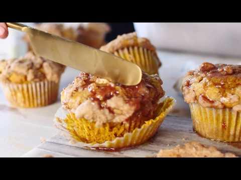 Pumpkin Coffee Cake Muffins with Cinnamon Honey Butter