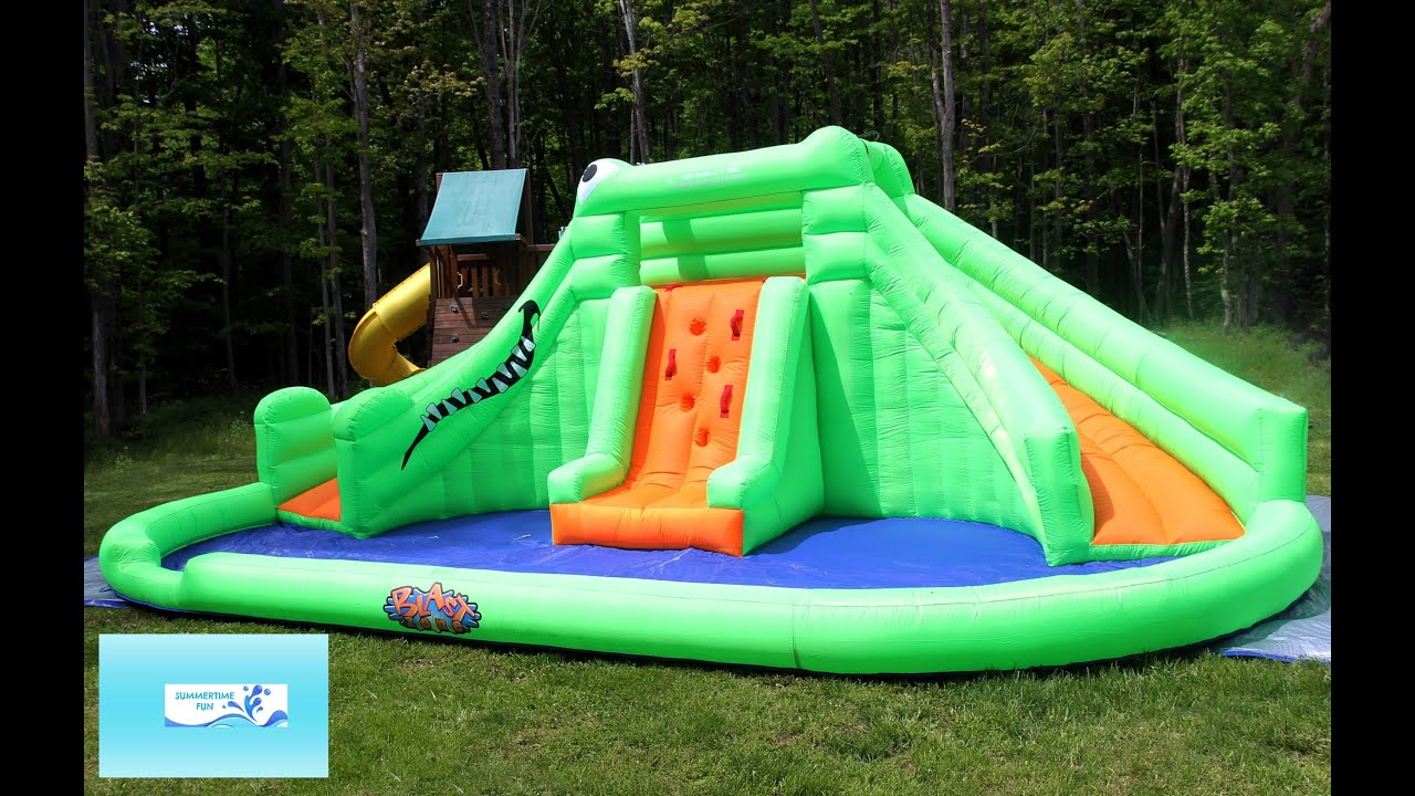 review blast zone crocodile isle inflatable water park with dual slides by blast zone fun youtube - Blow Up Water Slides