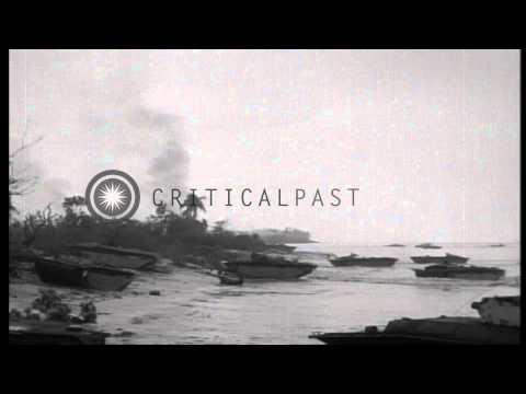 US Marines of 5th Marine Regiment, B Company land on Peleliu, Palau during World ...HD Stock Footage
