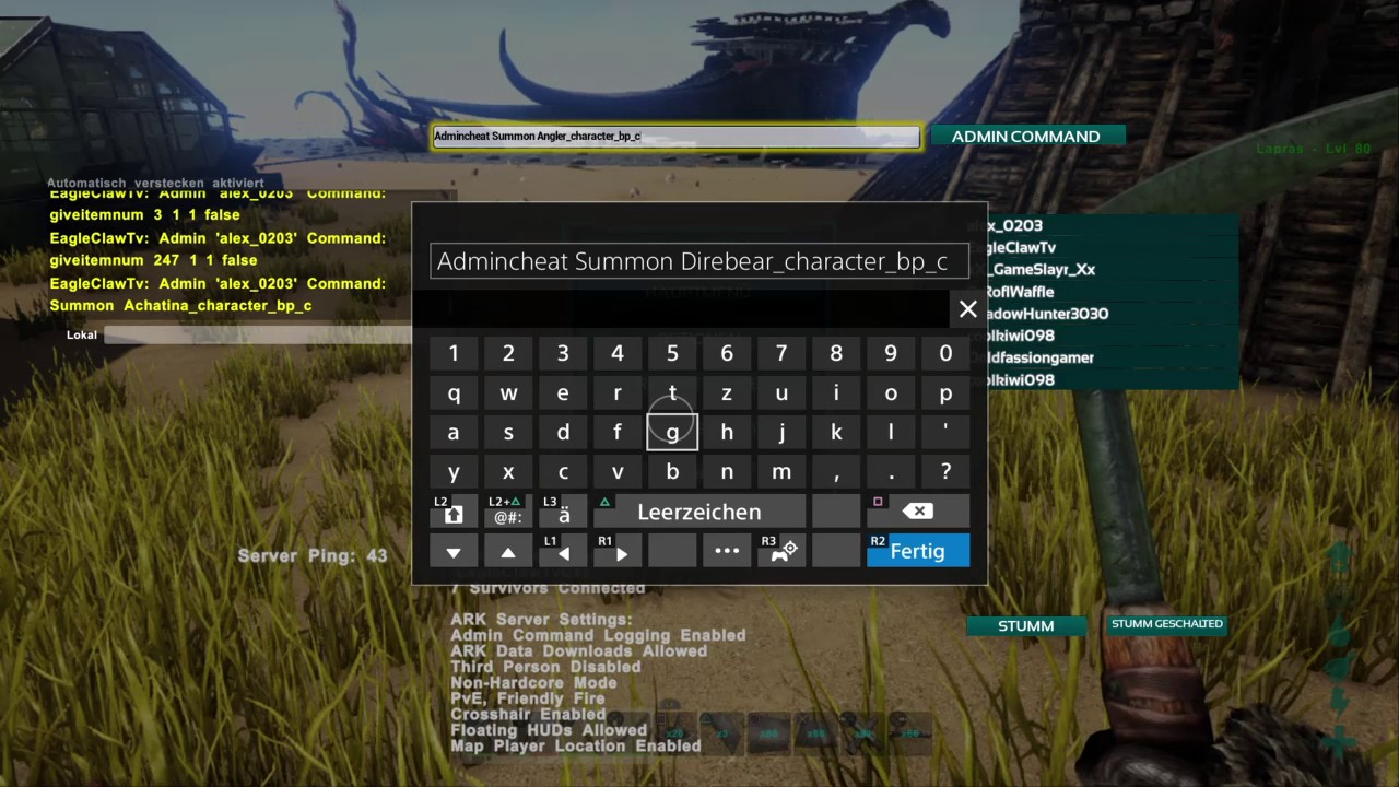 Ark Survival Evolved PS4 Cheats Admin Command Fr