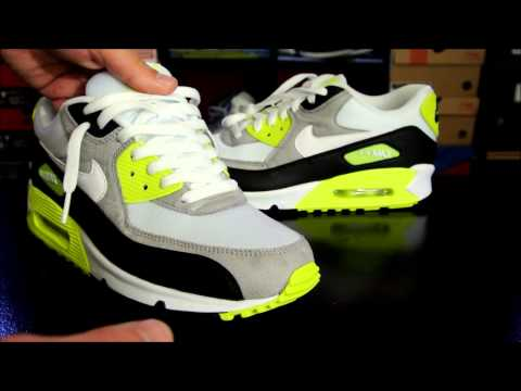 Nike Air Max 90 Black/ White/ Medium Grey - Volt + How to Lace your Sneakers