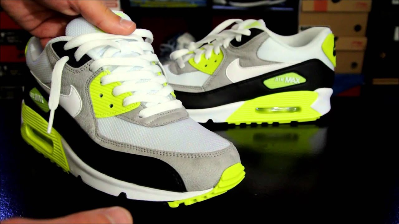 Nike Air Max 90 Black/ White/ Medium Grey - Volt + How to Lace your Sneakers  - YouTube